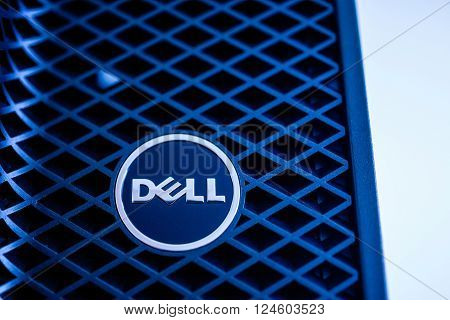 LONDON UNITED KINGDOM - JUNE 30 2014: Dell Computers logo on a powerful workstation as seen on Jun 30 2014. Dell workstations machines come configured as tower rack-mounted or notebooks for diverse industries ranging from audio and video production