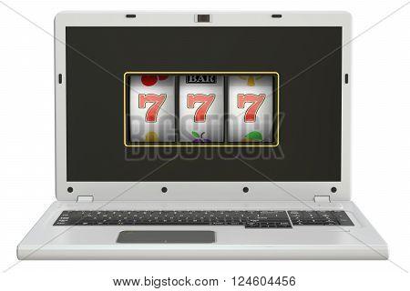 Online gambling concept laptop slot machine. 3D rendering