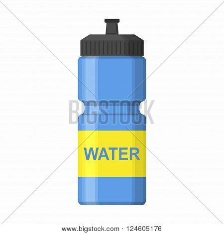 Blue Sport icon bottle for water icon in flat style isolated on white background. Sipper vector illustration