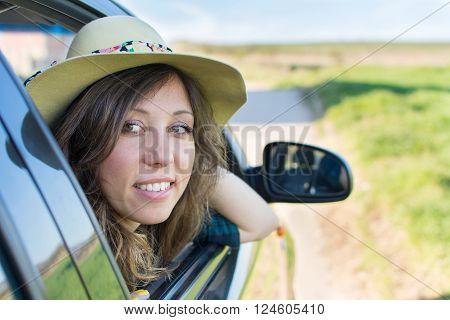 Woman Looking Thru Car Window