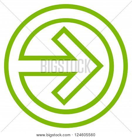 Import vector icon. Style is outline icon symbol, eco green color, white background.