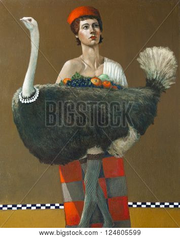 bird ostrich and harlequin, original oil painting on canvas