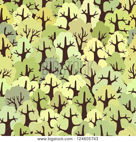 Green seamless background abstract forest of deciduous trees.