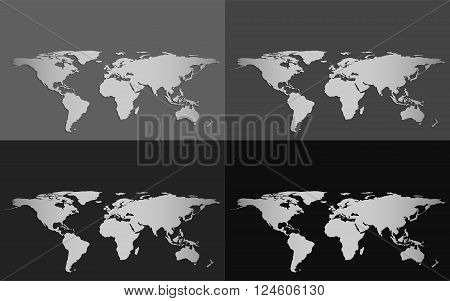 Set of four vector world maps isolated on a grayscale background with dropped shadow