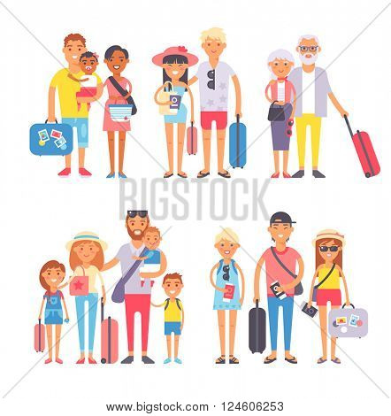 Traveling family group people on vacation together character flat vector illustration.