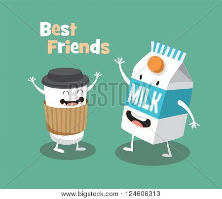 Funny Milk and cup of coffee. Vector cartoon. Comic characters. Breakfast