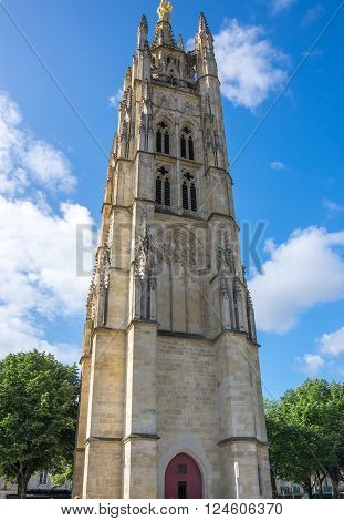 Tower Pey Berland, named for its patron Pey Berland, is located in Bordeaux at the Place Pey Berland next to Cathedrale Saint-Andre, France
