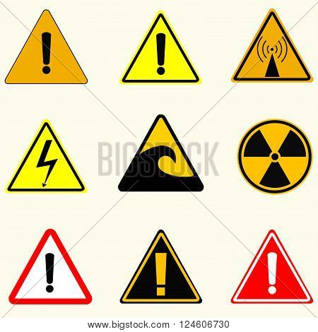 Caution signs danger radiation the radio emission high voltage tsunami and other signs vector