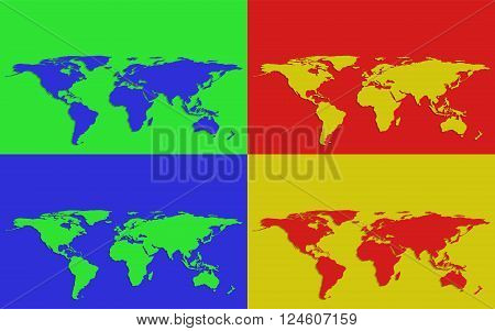 Set of four colorful world maps on bright colored backgrounds
