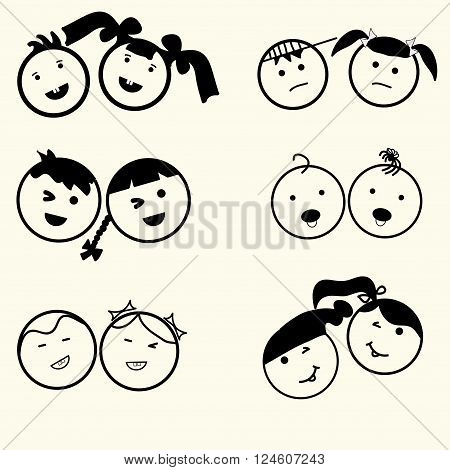 Kids icons set boys and girls children symbols happy faces smile children boy and girl silhouette linear design - vector