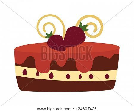Chocolate cream birthday cake topped pie isolated with white slice and cream flowers decorated vector.