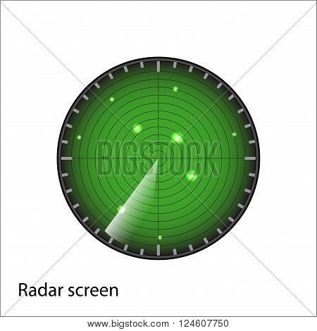 green radar screen on white background vector