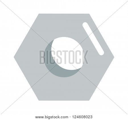 Steel nut vector icon isolated on white