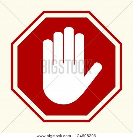 Stop sign white hand in red octagonal vector