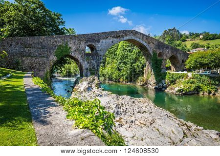 Old Roman stone bridge in Cangas de Onis (Asturias) Spain
