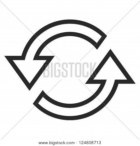 Sync Arrows vector icon. Style is outline icon symbol, gray color, white background.