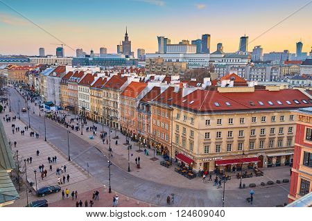 Warsaw, Poland - March 13, 2016: Panoramic view of the center of Warsaw at sunset.