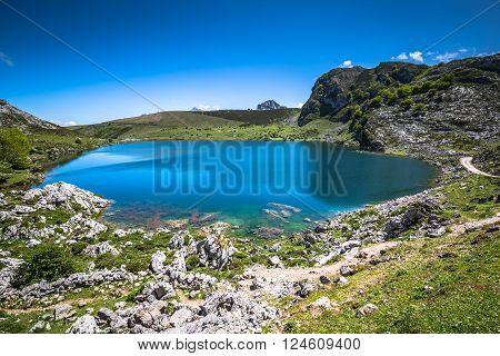 Lake Enol and mountain retreat the famous lakes of Covadonga Asturias Spain
