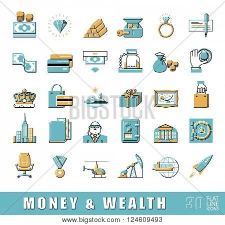 Set of premium quality flat line money and wealth icons. Collection of financial icons. Vector illustration.