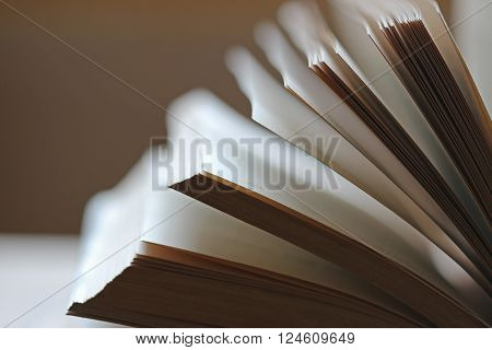 Side view of a fanned out open book