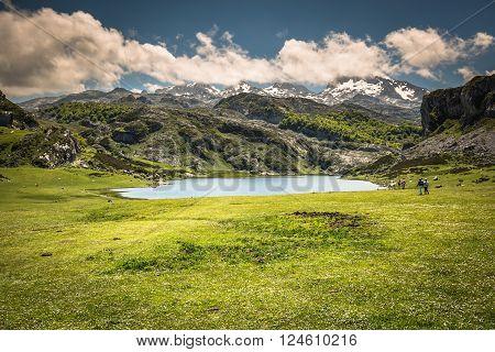 Lake Ercina. Cantabrian Covadonga Asturias Spain Europe.