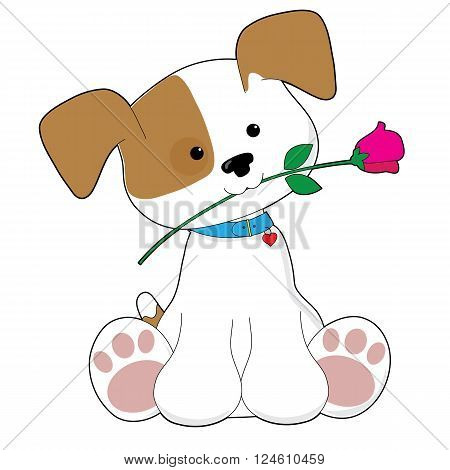 An adorable brown and white puppy is holding a pink rose in its mouth