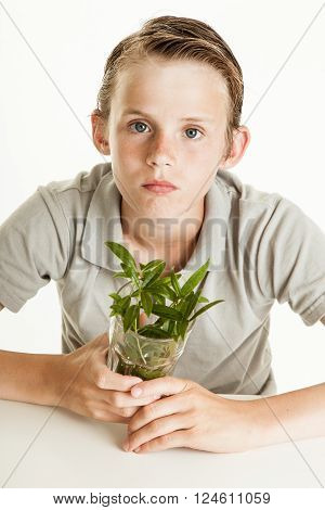 Boy Holding Glass With Weeds On White Background