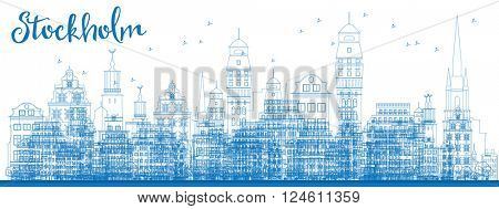 Outline Stockholm Skyline with Blue Buildings. Vector Illustration. Business travel and tourism concept with historic buildings. Image for presentation, banner, placard and web site.
