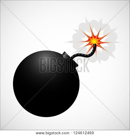 Bomb realistic icon. Black color body with fire. Vector stock illustration.