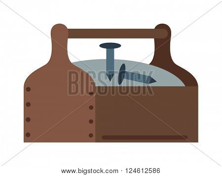 Toolbox with instruments construction work equipment vector.