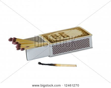 box of matches with a burnt match