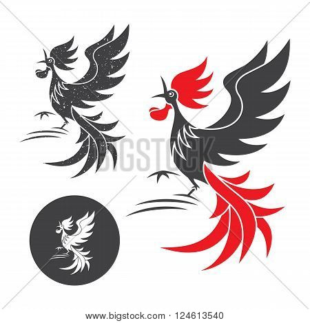 Cock crow. Vector silhouette of the rooster on white and black background.
