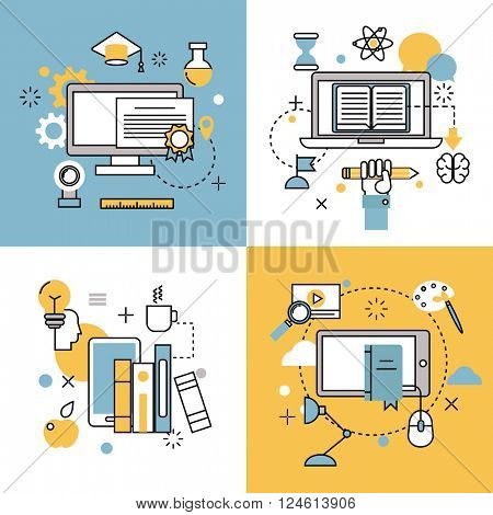Online education thin outline icons vector set of distance school and webinar symbols