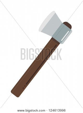 Axe steel isolated and sharp axe cartoon weapon icon on white