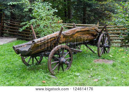 Old peasant cart as decoration. Carpathians Ukraine