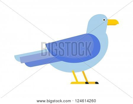 Great black-backed gull larus marinus sea wildlife animal and beautiful bird flat vector.