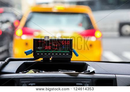 NEW YORK - MARCH 23: View from cab with meter display in New York on March 23, 2016