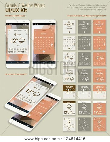 Flat design responsive calendar and weather mobile app widgets UI designs, with colored variations, smartphone mockups with trendy blurred backgrounds, with 3d isometric versions