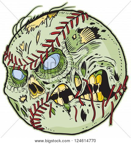 Vector cartoon clip art illustration of A Zombie Baseball. Important elements are in seperate layers in the vector.