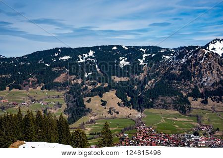 Village in German alps in early spring