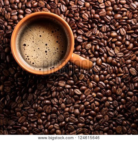 Roasted coffee beans and cup of coffee