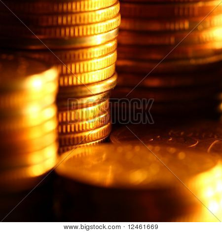 golden coins macro close up