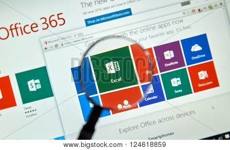 MONTREAL CANADA - MARCH 20 2016 - Microsoft Office 365 on PC screen. Microsoft Office is one of the most popular office suite software.