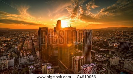 Downtown Los Angeles aerial shot from drone perspective