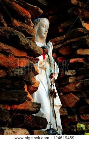 Wonderful View of Mother Mary in a Grotto