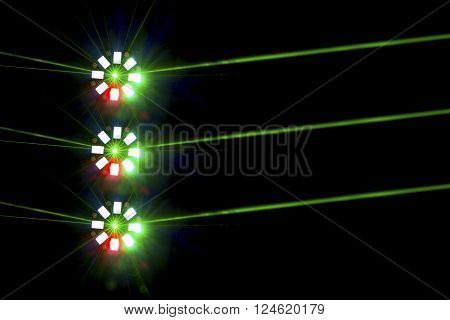 Three Brightly Coloured Disco Lights