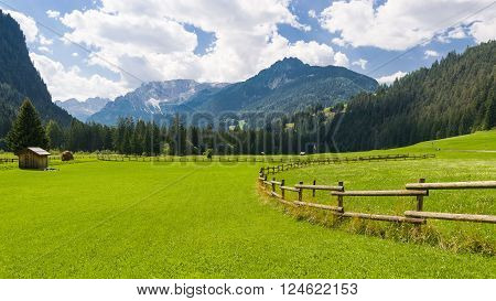 Idyllic Moutain Landscape over the Dolomites in the Fassa Valley