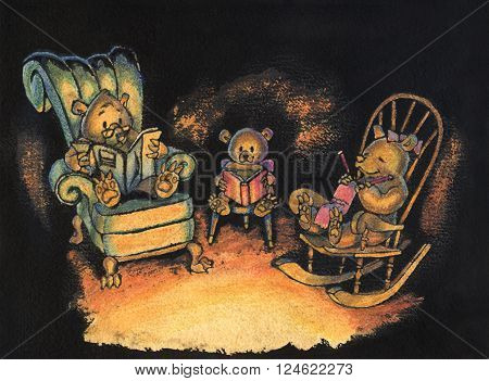 Ink and watercolor illustration of a family of three bears sitting together on chairs in their den lit by firelight.
