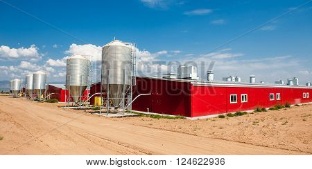 Storage for grain at a meat factory