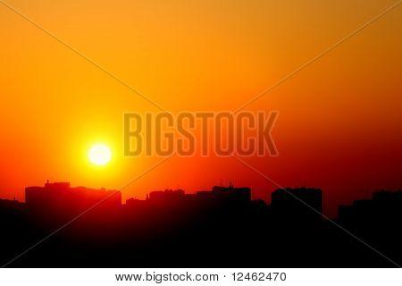 golden sunset city outdoor urbanscape